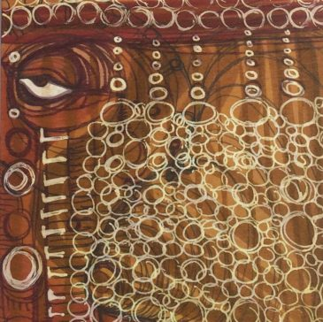 Misty Post painting on wood, Red Eye Bubbles